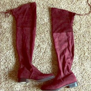 Burgundy over the knee boots